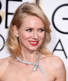 Noami Watts in Bulgari's timeless Serpenti necklace | Golden Globes Jewelry and Accessories 2015 | POPSUGAR Fashion