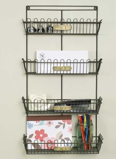 """Measures 15"""" wide and 27"""" tall. Mounting hardware is included. Bottom basket stands 5½"""" out from the wall, top basket stands 3"""" out from the wall. Includes numbered brass tags on the baskets. Great fo"""