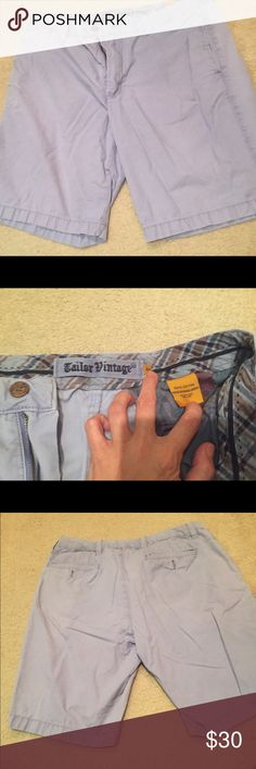 Tailor Vintage Shorts Excellent condition men's shorts.  Cool periwinkle bluefish color.  Looks good on. Side pockets and back pockets w tan buttons Tailor Vintage Shorts Flat Front