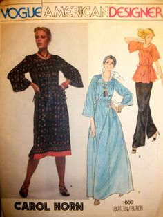 Carol Horn Vogue 1600 loose dress in two lengths and tunic top ~