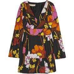 Marni Pleated floral-print crepe mini dress ($1,820) ❤ liked on Polyvore featuring dresses, black, mini dress, colorful dresses, short floral dresses, black floral print dress and short dresses