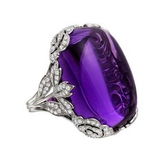 Made for Betteridge Large Cabochon Amethyst & Diamond Ring