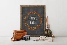 PRINTABLE Art Happy Fall Typography Art Print by WishfulPrinting