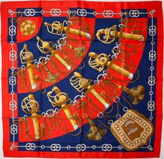 "#Hermes Red, Navy, and Gold ""Cliquetis,"" by Julia Abadie Silk Scarf #heritageauctions"