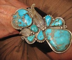 """NATIVE AMERICAN TURQUOISE LEATHER BRACELET,104gr Sterling Silver CHAVEZ, 4"""" wide"""