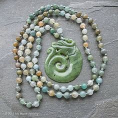 Sale $10 off regular price 108 Jade Necklace Hand Knotted Mala by mymusejewelry