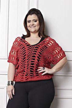 Plus Size - Blusa Crochê de Grampo Vermelha