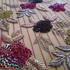 dabka, sequence & cotton thread work on blouse Zardozi Embroidery, Embroidery On Kurtis, Kurti Embroidery Design, Hand Embroidery Flowers, Hand Work Embroidery, Embroidery On Clothes, Couture Embroidery, Embroidery Flowers Pattern, Embroidery Fashion