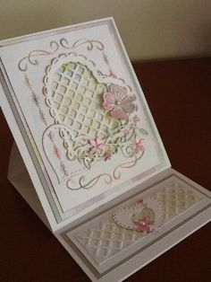 Stitch embroidery card, heart to heart - memory box dogwood blossom flower