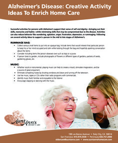 Alzheimer's Disease: Creative Activity Ideas to Enrich Home Care #activities #alzheimers #homecare