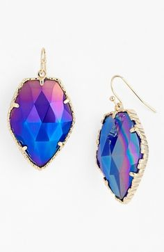 Kendra Scott Corley Faceted Stone Drop Earrings Iridescent Cobalt Cats Eye One | Jewelry and Accessory