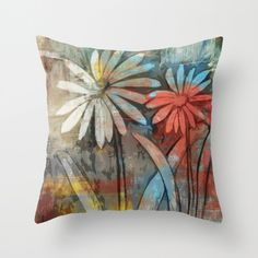 Painted Daisies- Throw Pillow by NNPinksDesigns on Etsy