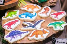 Dino cookies from Prehistoric Dinosaur Birthday Party at Kara's Party Ideas. See the preserved details at karaspartyideas.com!