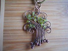 Wire Peridot Tree Pendant Green Peridot Chip beads by OurFrontYard, $23.77
