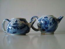 """TWO *RARE* early 1700's DELFT DELFTWARE TEAPOTS """"Bird"""" & """"Pagoda"""""""