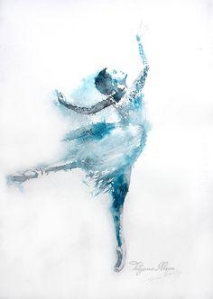 Bailarina acuarela impresión de arte. Arte de la por TatyanaIlieva
