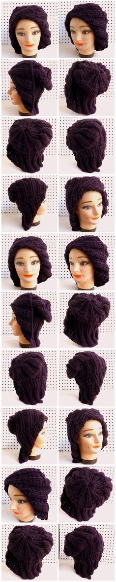 http://www.etsy.com/listing/161240273/knit-hat-women-hat-plum-cowl-slouchy?ref=shop_home_active PLUM COWL Knit Mobius Cloche Hat in Purple