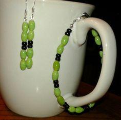 $12 Spun green glass beads and Czech beads earrings & bracelet