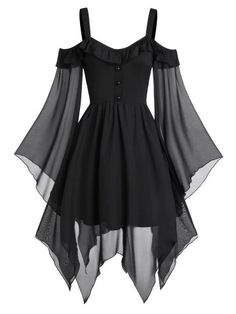 They are beautiful, lovable and affordable. You deserve it! Butterfly Sleeve Cold Shoulder Lace-up Handkerchief Gothic dress-Gothic dress victorian,Gothic dress elegant,Gothic dress casual,Gothic dres Pretty Outfits, Pretty Dresses, Awesome Dresses, Black Gothic Dress, Dress Black, Kleidung Design, Mode Kpop, Goth Dress, Lolita Dress