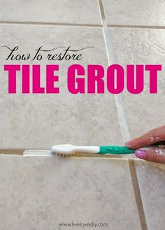 A DIY Blogger's Guide To Paint Products That Actually Work! This is great! Polyblend Grout renew and a toothbrush as an applicator. For more details you can go here.