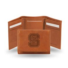 NC State Wolfpack Brown Leather Tri-Fold Wallet