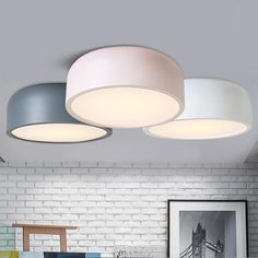 Smithfield Fixed Ceiling Light. Clean and minimalist design. Available in pink, green, white, grey and black. Round Ceiling Light, Low Ceiling Lighting, Hallway Lighting, Ceiling Light Fixtures, Bedroom Lighting, Home Lighting, Black Ceiling, Lighting Ideas, Kitchen Ceiling Lights