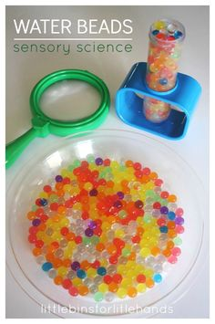 Water beads science exploration is also awesome sensory play opportunity. Watch water beads grow and explore simple science with light, color and polymers. Water Games For Kids, Outdoor Activities For Kids, Kids Learning Activities, Sensory Activities, Sensory Play, Sensory Table, Sensory Bins, Sensory Rooms, Outdoor Games