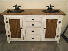 Country Pine Double Bathroom Vanity With Hammered Copper Sinks Rp1384 60w Antique White