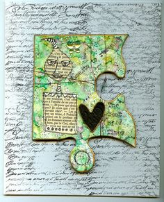 Original Altered Art Mixed Media Giant Jigsaw Piece by Dianic, $17.00