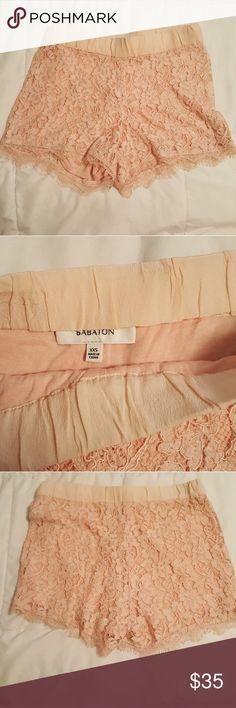 Babaton Lace Shorts Aritzia Peach Beautiful Lace Shorts Shorts