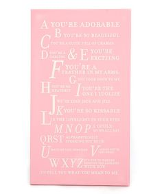 Take a look at this Pink 'A You're Adorable' Alphabet Wall Art by Twelve Timbers on #zulily today!