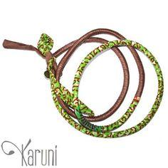 Toubab Paris Collier en tissu wax fantaisie sautoir bracelet ceinture Toutencordon 125 cm vert/rose brun 2
