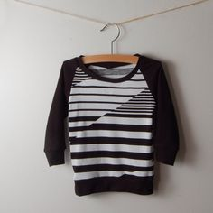 long sleeve baby shirt, black and white abstract stripes, 0-3M to 2T/3T by BrimilaBaby on Etsy https://www.etsy.com/listing/164363228/long-sleeve-baby-shirt-black-and-white