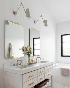 Rye New York, New York Projects, Grey Baths, Simple Bed, Studio Mcgee, Waterfront Homes, Bathroom Interior, Bathroom Ideas, Bathroom Inspo