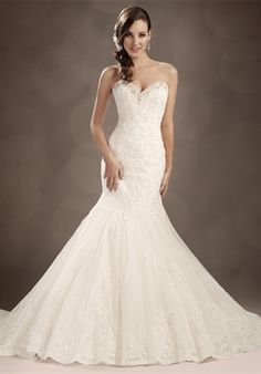 mermaid strapless sweetheart attached train chapel lace tulle wedding gown by Sophia Tolli