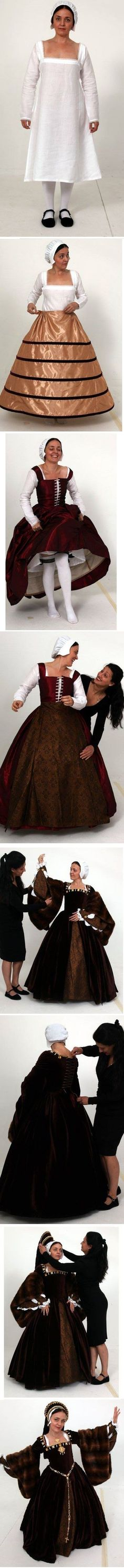 Tudor dressing-- good visual of all of the layers. Includes a kirtle (a corset/petticoat combo). Amazing!!