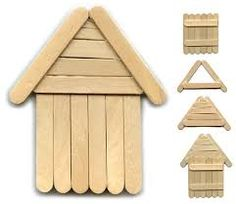 easy popsicle stick cabin - Google Search ** wonder what this would look like painted red, glitter, cord to hang on tree. Draw in a door, window?