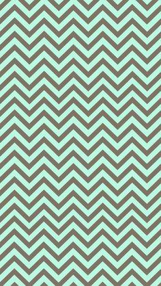 Mint & Brown Chevron iPhone Wallpaper