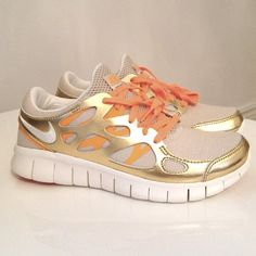 gilded Nikes. I think I would want to run if I had these... Not usually a gold fan but I really like it w the khaki and orange.