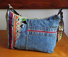 sac bandoulière en jean's bleu et coton imprimé multi poches : Sacs bandoulière par com3pom