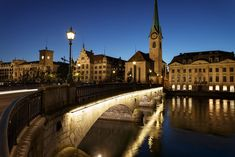 Zurich at Night Blue Hour, Switzerland, Skyline, Europe, River, Mansions, Night, House Styles, Manor Houses