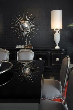 Habachy Design Dining Rooms Modern Room Glamorous Black And Red All Wallpaper