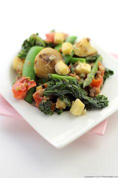 kale potato salad with sugar snap peas, asparagus, tomatoes and comté cheese