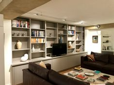 Media Unit for client in Kew with disappearing TV Living Roon, Living Room Built Ins, Living Room Wall Units, Bookshelves In Living Room, Living Room Cabinets, Open Space Living, Living Room Storage, Built In Bookcase, Bookcase Wall