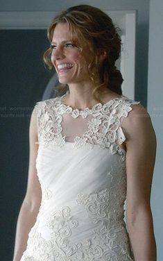 Beckett's wedding dress on Castle. Season 6 Episode 23 Outfit Details: http://wornontv.net/32427/ #Castle