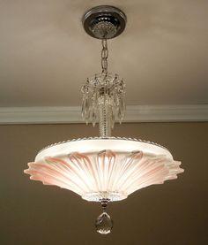 Vintage Art Deco SUNFLOWER Chandelier 1940s Chrome & Glass Ceiling Light Fixture #VictorianModernDeco