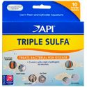 Triple Sulfa: A special formula of three sulfa medications to effectively treat bacterial infections such as hemorrhagic septicemia (blood streaks in fins and body and localized swelling), bacterial gill disease, fin & tail rot, cotton mouth disease, body slime and eye cloud for both fresh and saltwater fish. This medication will not harm the biological filter and will not color aquarium water. Can be used in combination with Malachite Green. Can be used with ParaGuard. Safe for loaches.