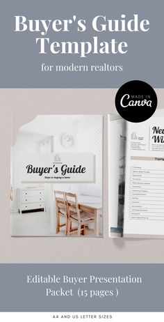 Customizable Real Estate Buyer's Guide. 15 pages in Canva. Available in US Letter and A4 sizes. #buyerguide #guidetemplate #realestatebrochure #realestatecanva #realestatetemplate #homebuyerguide #buyerpacket #buyerquestionnaire #realestateguide