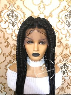 Buy high quality box braids wig and get up to off at Express Wig Braids. Explore our widest custom wig collection that has various braid styles, length, color and parting options. Cornrows With Box Braids, Box Braid Wig, Jumbo Box Braids, Braids Wig, Bob Hairstyles For Thick, Braided Hairstyles For Black Women, Medium Size Braids, Head Braid, Single Braids