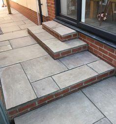 Wraparound steps using raj Blend Paving treads & red engineering brick risers Red Brick Paving, Brick Patios, Patio Steps, Patio Tiles, Red Bricks, Bespoke Design, Back Gardens, Wraparound